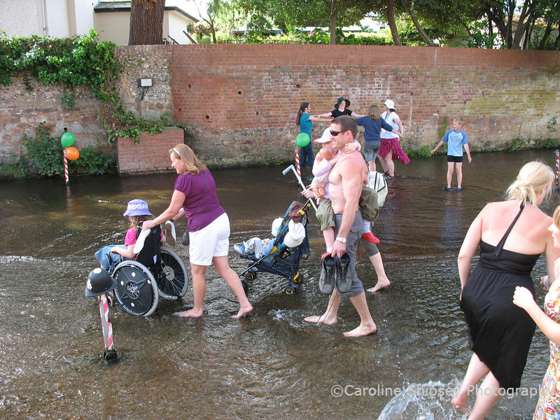 British holidaymakers on their way to the beach.