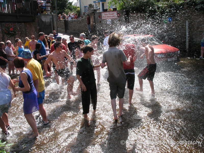 Apart from having a good dance in the cooling waters of the River Sid, the object of the event is to make sure that everyone get very wet.  Splashing is encouraged BUT not in the direction of the musicians who get very cross if water gets on the instruments.