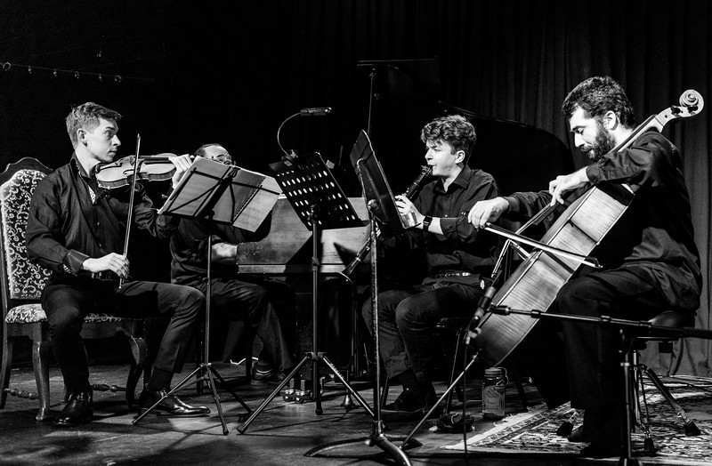 Emmanuel Borowsky, Daniel Weiser, Aaron Lipsky, Franklin Keel on violin, piano, clarient and cello respectively