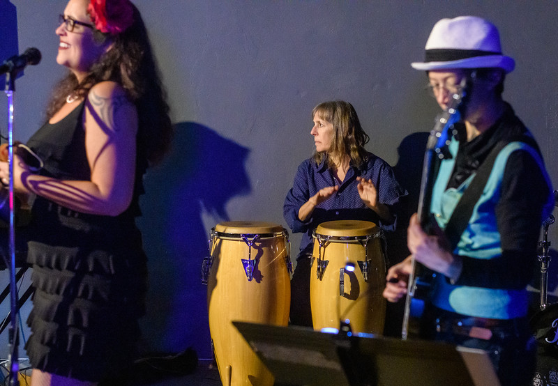 Nancy on Congas,  Honey Music Collective at the Alley Cat Social Club
