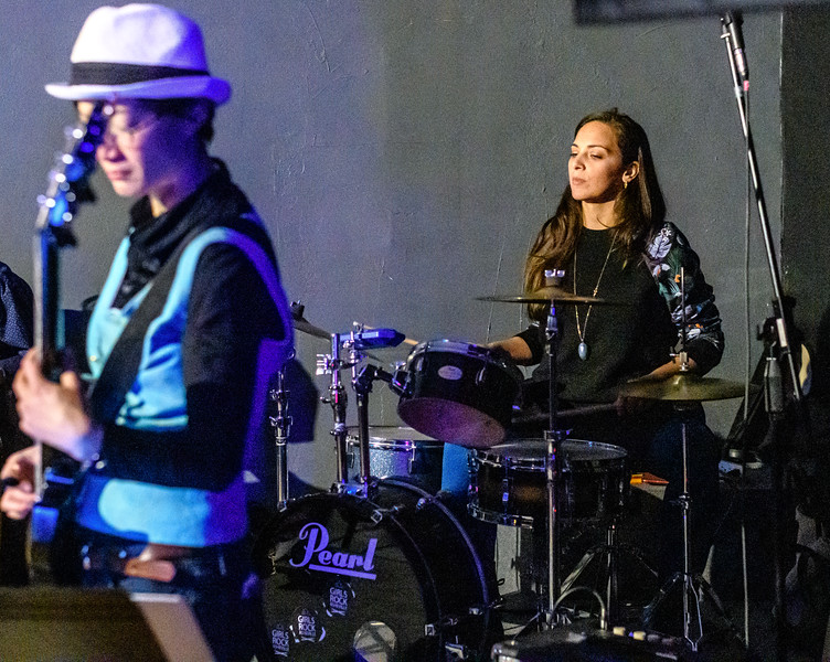 Drummer and drum kit,  Honey Music Collective at the Alley Cat Social Club