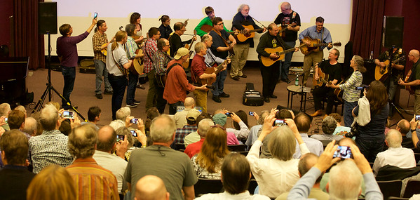 "After Roger gave his wonderful presentation, he invited the audience to join him on stage to play a few more Byrds songs.  It became an ""iphoneic"" event. How many phones can you find?"
