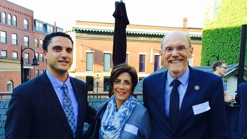 . From left, Barry Lavoie of Lowell, and Judy and James Mabry, president of Middlesex Community College, of Bedford