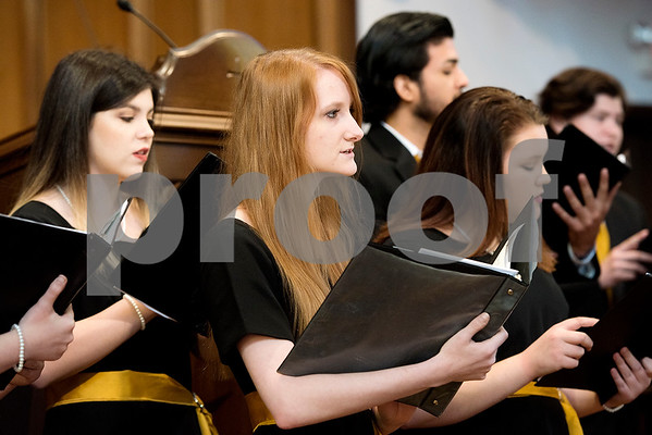 Choir members sing at a Tyler Junior College choir concert at Marvin United Methodist Church in Tyler, Texas, on Wednesday, Nov. 29, 2017. Hundreds came to enjoy Christmas classics sung by the choirs. (Chelsea Purgahn/Tyler Morning Telegraph)