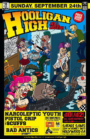 Show Flyer - Hooligan High with Narcoleptic Youth - Pistol Grip - The Scuffs - Bad Antics - at Safari Sams - Hollywood, CA - September 24, 2006