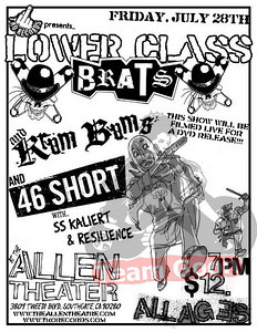Show flyer - Lower Class Brats at The Allen Theater in South Gate, CA on July 28, 2006