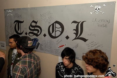 The farewell banner  - T.S.O.L. Farewell Show - 2nd night - at The Vault 350 - Long Beach, CA - November 26, 2006