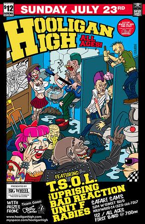 Show flyer - TSOL - Uprising - Bad Reaction - Unit F - RABIES - at Hooligan High - Safari Sams - Hollywood, CA - July 23, 2006