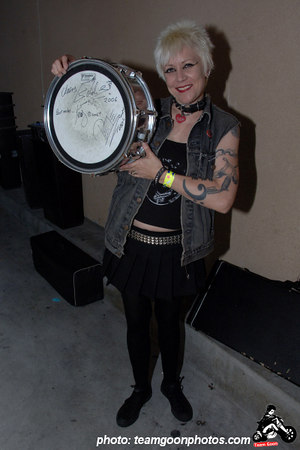 Lisafer with her drum head signed by The Vibrators - at The Vault 350 - Long Beach, CA - September 10, 2006