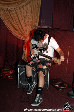 Mike of Critical Picnic tuning up - at The Airliner - Lincoln Heights - Los Angeles, CA - August 27, 2006