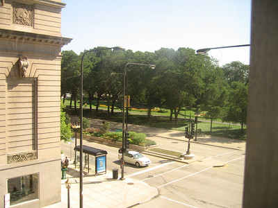 view of Grant Park from Essex Inn window