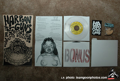 "Harpoon Guns Poster, Lyrics insert, 7"" inch vinyl, 7"" Bonus track, 'Poon Guns Sticker, Official Harpoon Guns Fortune Cookie, and handmade 7"" sleeve."