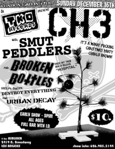 Show flyer- TKO Records Xmas Party with - The Smut Peddlers - Channel 3 - Broken Bottles - Destroy Everything - Urban Decay - at The Airliner - Los Angeles, CA - December 16, 2007