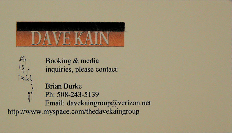Dave Kain Band business card
