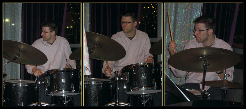 Adam Christgau, drummer 2 [trio of pictures, borders]