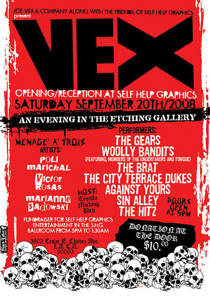Show Flyer Return to The VEX - The Gears - Wooly Bandits - The Brat - The Hitz - Sin Alley - at The VEX - Los Angeles, CA - September 20, 2008