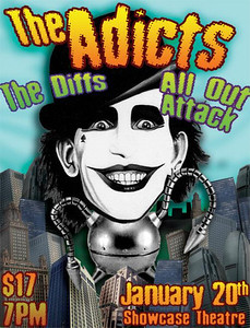 Show Flyer The Adicts - The Diffs - All Out Attack - at The Showcase Theater - Corona, CA - January 20, 2008