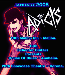 Show flyer The Adicts - The Diffs - The Spooky - Noise Attack - at The Malibu Inn - Malibu, CA - January 18, 2008