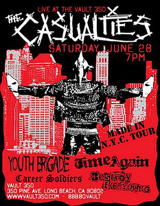 Show flyer The Casualties - Youth Brigade - Time Again - Career Soldiers - Destroy Everything - at The Vault 350 - Long Beach, CA - June 28, 2008