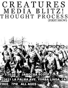 Show Flyer Thought Process - Media Blitz - at Jamoca Scoop - Yorba Linda, CA - March 20, 2008