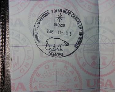 Passport stamp from the Churchill post office.