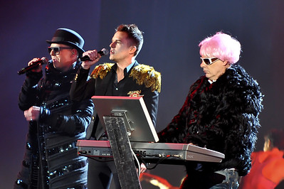 Brandon Flowers performing with The Pet Shop Boys at the Brits 2009