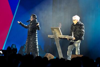 The Pet Shop Boys performing at the Brits 2009