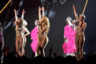 Girls Aloud performing at the Brits 2009