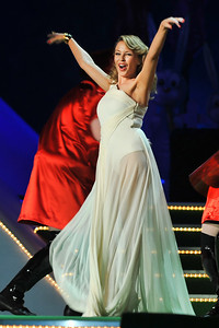 Kylie Minogue presenting the Brits 2009