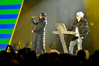 The Pet Shop Boys performing at the Brits 2009
