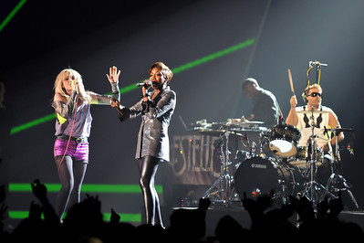 The Ting Tings & Estelle performing at the Brits 2009