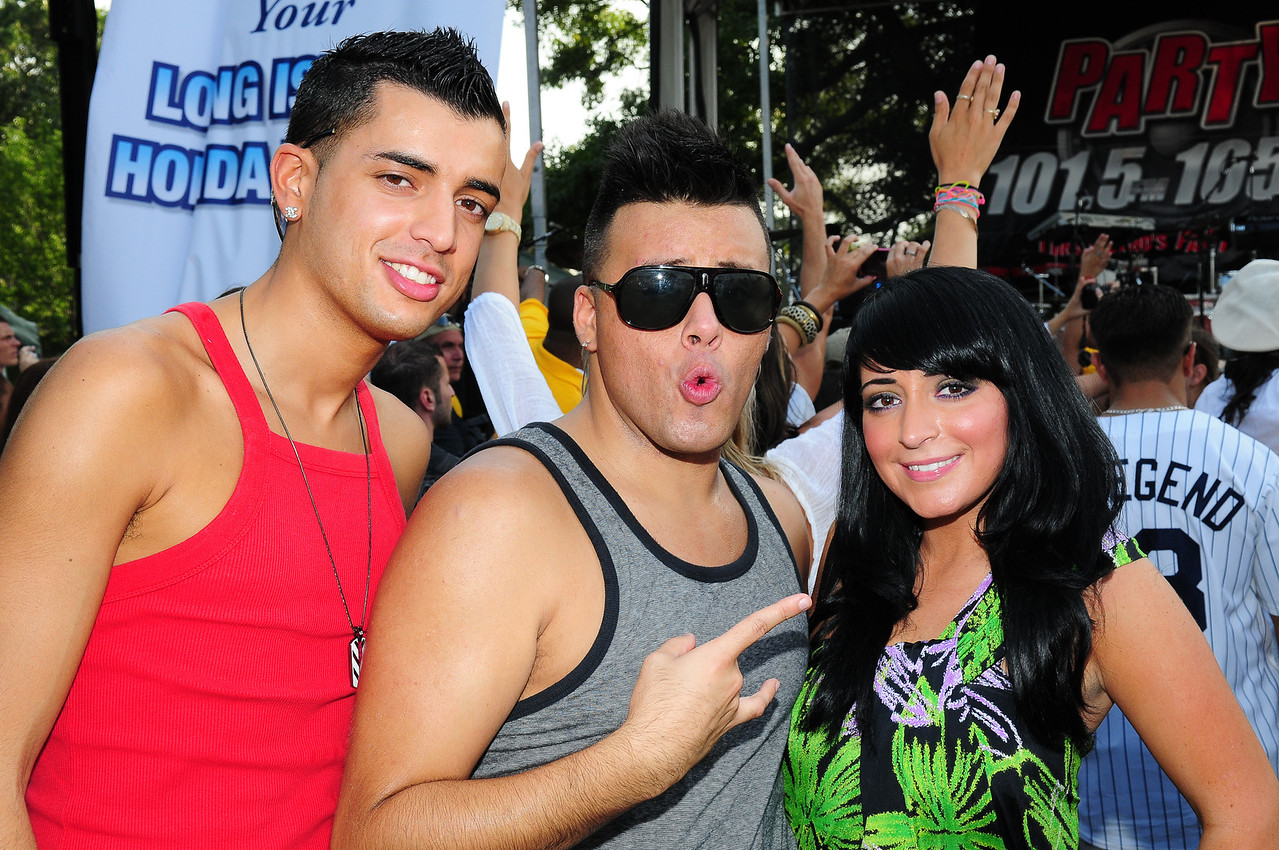 Medford, NY - JULY 17: Johnny Donovan and Angelina Pivarnick of the Jersey Shore  Attends the 2010 Party FM's Mega Jam Hosted By Nickelodeon's I- Carly, Miranda Cosgrove at the Country Fair Entertainment Park Route 112, Medford, NY (Photo by Joseph Bellantoni/In House Image)