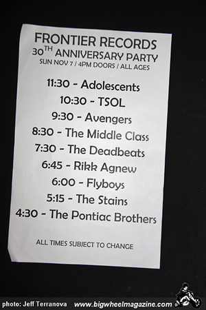 Frontier Records 30 Year Anniversary - Adolescents - TSOL - Avengers - Middle Class - Deadbeats - Rikk Agnew - Flyboys - Stains - Pontiac Brothers - at The EchoPlex - November 7, 2010