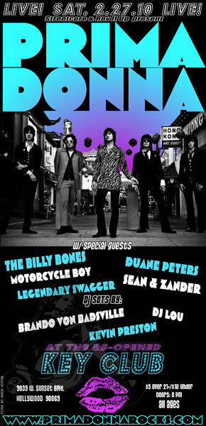 Prima Donna - The Billy Bones - Sean and Zander - Motorcycle Boy - Legendary Swagger - Key Club - Hollywood, CA - February 27, 2010