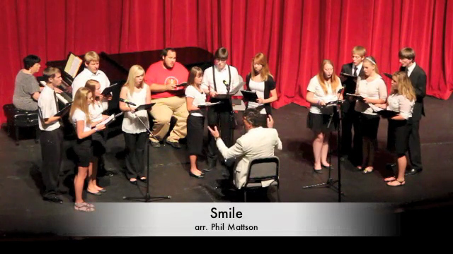 High School Vocal Jazz Concert<br /> July 21, 2012<br /> <br /> Terry Crull, Conductor<br /> Smile (arr. Phil Mattson)<br /> Poor Pierrot (arr. Roy Ringwald)<br /> Chili Caliente (David Giardiniere)<br /> My Funny Valentine (Rodgers & Hart)