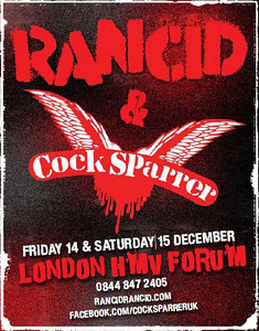 Rancid UK Tour - Various Cities - 3 nights in London with Cock Sparrer - December 2012