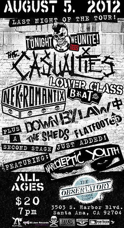 The Casualties - Nekromantix - Lower Class Brats - Narcoleptic Youth - Flatfoot 56 - Down By Law - The Sheds - at The Observatory - Santa Ana, CA - August 5, 2012