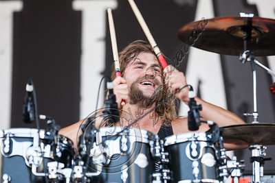 SAN BERNARDINO, CA - JUNE 30:  Drummer Jordan Mancino of As I Lay Dying performs at the Rockstar Energy Drink Mayhem Festival at San Manuel Amphitheater on June 30, 2012 in San Bernardino, California.  (Photo by Chelsea Lauren/Getty Images)
