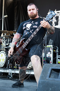 SAN BERNARDINO, CA - JUNE 30:  Bassist Gabe Crisp of Whitechapel performs at the Rockstar Energy Drink Mayhem Festival at San Manuel Amphitheater on June 30, 2012 in San Bernardino, California.  (Photo by Chelsea Lauren/Getty Images)