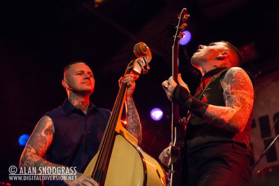 """Geoff Kresge (L) and Nick 13 of Tiger Army perform on October 21, 2012 during """"October Flame V""""  at the Catalyst in Santa Cruz, California"""