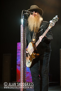 Dusty Hill of ZZ Top performs August 19, 2012 at Sleep Train Pavilion in Concord, California