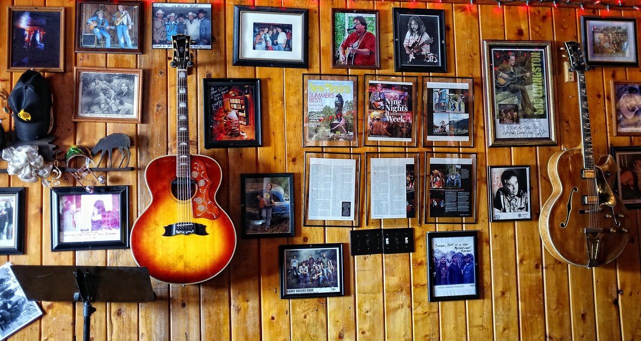Music memorabilia at the Lost Love Saloon