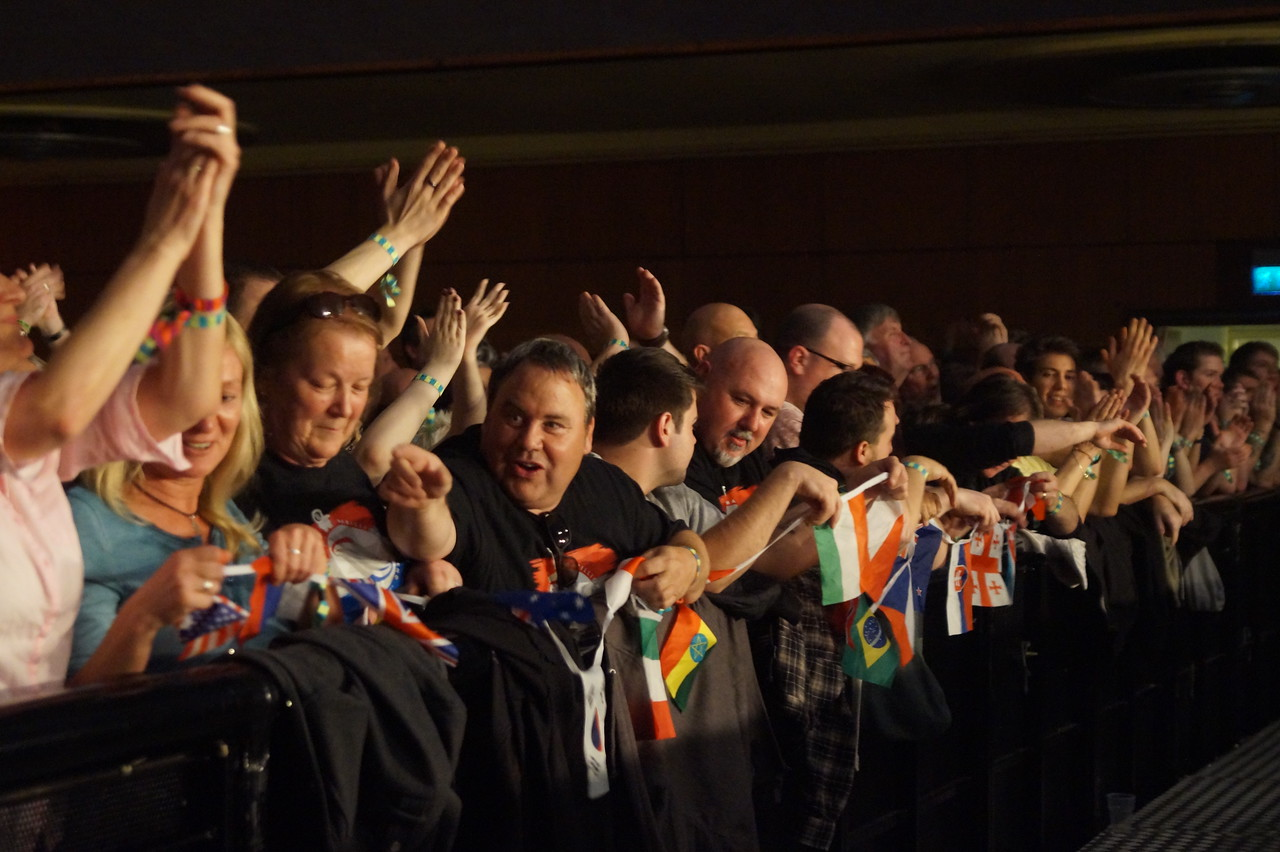 The front row at the 2015 UK Marillion Convention