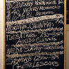"Chalkboard, outside showing membership charges and classes - Birdland Jazzista Social Club - ""Yacine Kouyate and the sounds of Mali"""