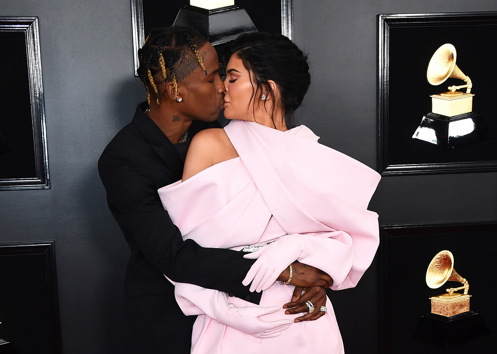 . Travis Scott, left, and Kylie Jenner arrive at the 61st annual Grammy Awards at the Staples Center on Sunday, Feb. 10, 2019, in Los Angeles. (Photo by Jordan Strauss/Invision/AP)