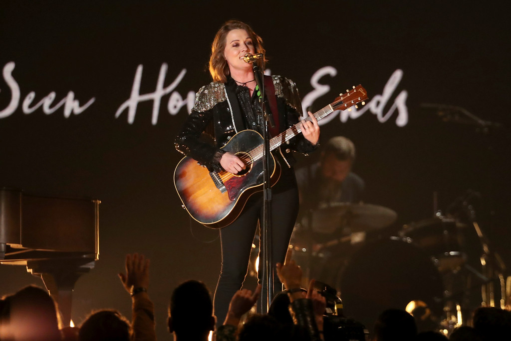 ". Brandi Carlile performs ""The Joke\"" at the 61st annual Grammy Awards on Sunday, Feb. 10, 2019, in Los Angeles. (Photo by Matt Sayles/Invision/AP)"