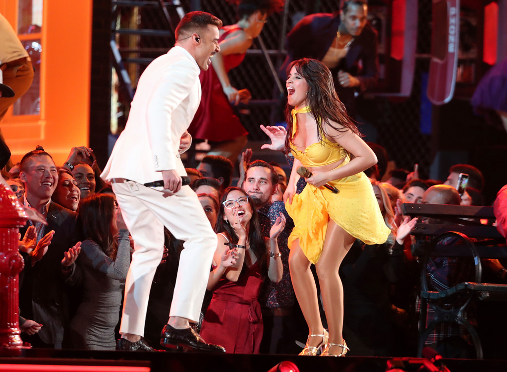 ". Ricky Martin, left, and Camila Cabello perform ""Havana\"" at the 61st annual Grammy Awards on Sunday, Feb. 10, 2019, in Los Angeles. (Photo by Matt Sayles/Invision/AP)"
