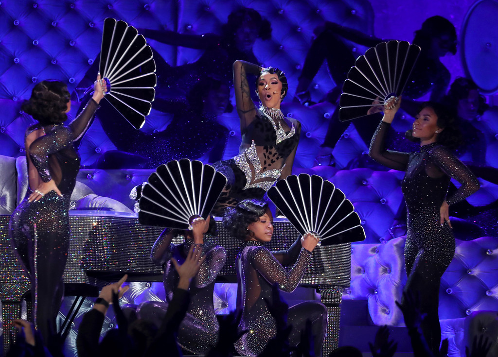 ". Cardi B performs ""Money\"" at the 61st annual Grammy Awards on Sunday, Feb. 10, 2019, in Los Angeles. (Photo by Matt Sayles/Invision/AP)"
