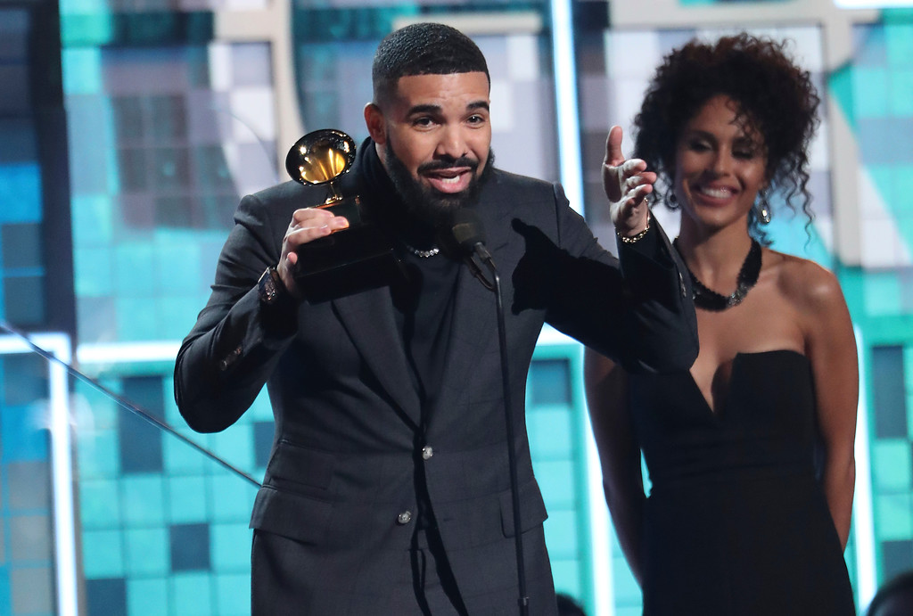 ". Drake accepts the award for best rap song for ""God\'s Plan\"" at the 61st annual Grammy Awards on Sunday, Feb. 10, 2019, in Los Angeles. (Photo by Matt Sayles/Invision/AP)"