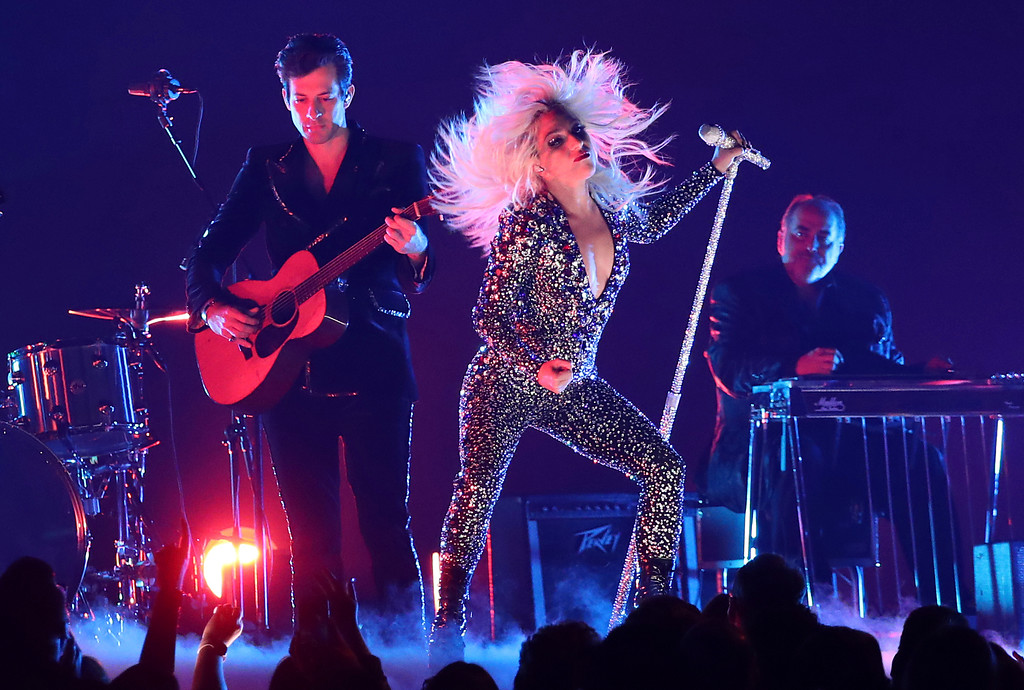 """. Lady Gaga, right, and Mark Ronson perform \""""Shallow\"""" at the 61st annual Grammy Awards on Sunday, Feb. 10, 2019, in Los Angeles. (Photo by Matt Sayles/Invision/AP)"""